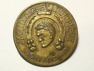 1924 JACK DEMPSEY Fight And Win Lucky TOKEN Coin Universal MOVIE Boxing
