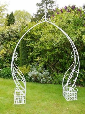 "Antique White ""Aldridge Lakes"" Scroll Design Garden Rose Arch"