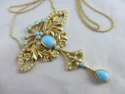 Antique Victorian Style 9ct Gold Silver Turquoise Dangly Pendant Necklace 11261