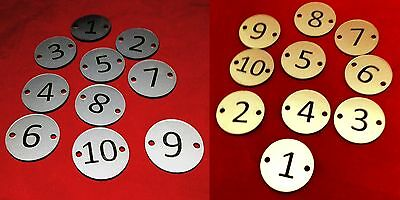 30mm High Quality Engraved Discs Table Numbers Pubs Restaurants Clubs Bars