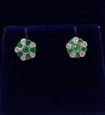 9ct Yellow Gold Emerald and Diamond Cluster Stud Earrings
