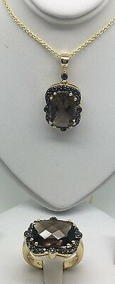 Sterling Silver With Gold Over Smokey Topaz/quartz Ring And Pendant Set