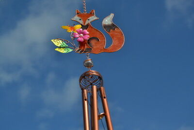 Stained Glass Fox With Butterfly & Flower Hanging Suncatcher Mobile Windchime