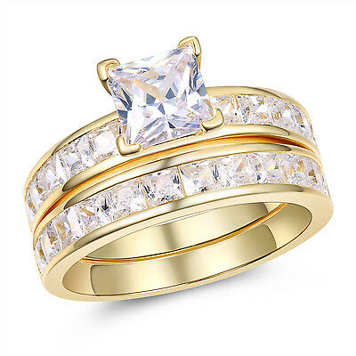 Gold Plated Sterling Silver Princess Cut Aaa Cz Women S Wedding