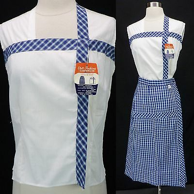 NOS Vtg 60s Blue Plaid 2-Piece Dress Set Sleeveless White Top Pencil Skirt S
