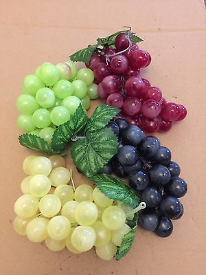 4x Artificial Grapes Bunches Fake Realistic Fruits Spray Shop Home Display Mix
