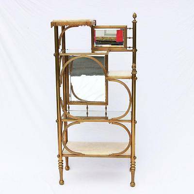 A Victorian Brass and Marble Etagere, Mirrored Antique Shelf, Whatnot RARE