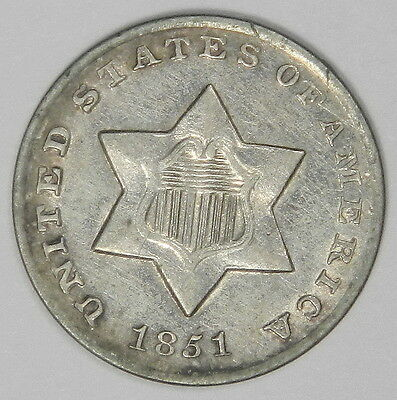 1851-O 3C Three Cent Silver - Nice Surfaces Original Au About Uncirculated!
