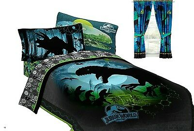 9PC Jurassic World Dinosaurs FULL Double COMFORTER SHEETS CURTAIN BEDDING SET