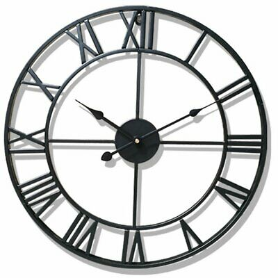 Small Large Traditional Metal Roman Numeral Clock Black 'Iron' Home Watch DIY