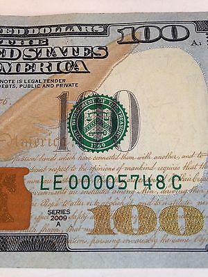 Defect $100 Dollar Low Fancy Serial Number 00005748