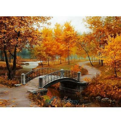 "New Diy Oil Painting Paint By Number Kit Romantic Love Autumn 15.6""*11.8"" A"