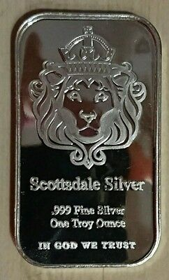 5 X 1oz (Troy) Scottsdale Mint Silver Bar 999.0 Fine Silver 'The One' design