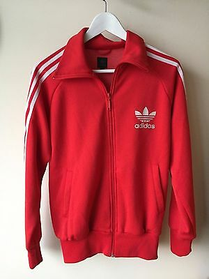 Adidas Retro Track Top RED - SMALL Tracksuit Indie Mod Trefoil Logo Original S