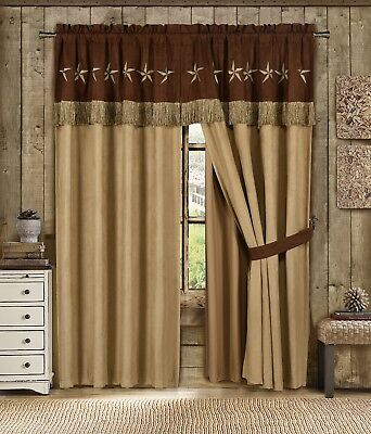Chezmoi Collection 4pc Microsuede Embroidered Western Star Window Curtain Set