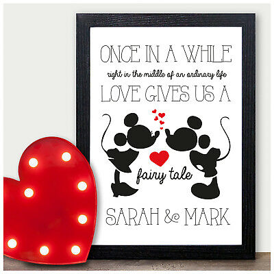 DISNEY Couples PERSONALISED Valentines Gifts for Him Her Keepsake Present Mr Mrs