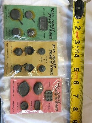 Vintage Doll House Accessories Play House Pots 'N'  Pans Adept Castings Freeport