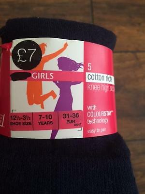 new girls  ex faMouS high st 5 Pack cotton rich knee high sock black navy