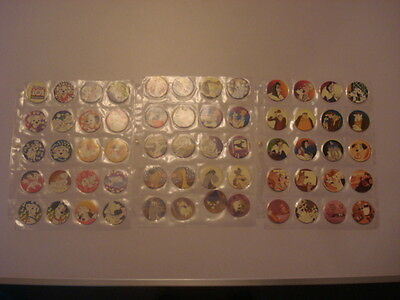 101 Dalmations glo caps/pogs complete set of 60