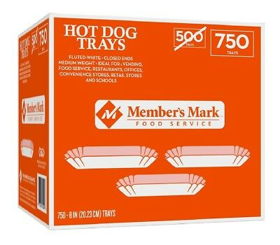 "Member's Mark 8"" Fluted Hot Dog Tray 750 count Great for Concession Stands"