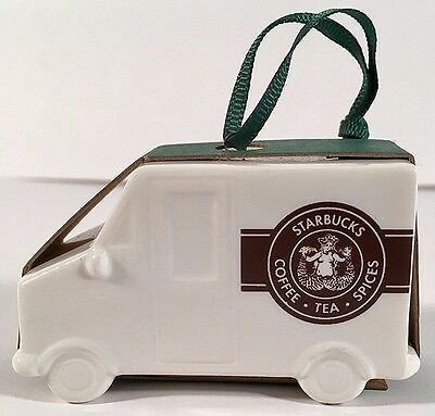 STARBUCKS 2016 DELIVERY TRUCK Ceramic ORNAMENT Christmas SOLD OUT Coffee Cup NEW