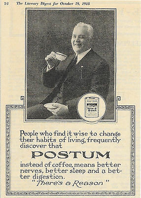 1918 Postum Instant Breakfast Cereal Ad There's A Reason