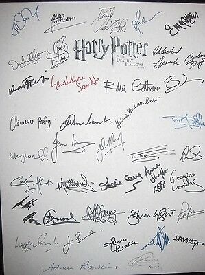 Harry Potter Deathly Hallows part 2 signed Script x39 Daniel Radcliffe Watson rp