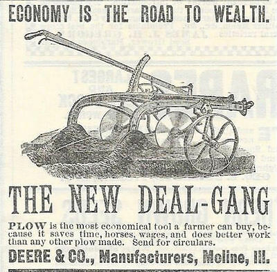 Old 1887 Deere & Company New Deal Gang Plow Ad Moline Il Illinois