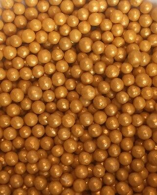 Gold Edible Christmas Pearl Balls / Dragees Cake Sprinkles / Cake Pops 25g bags