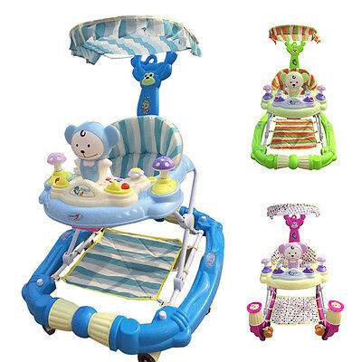 New Baby Walker Hand Push Infant Play Seat Toddler Funny Rocking Horse W/Canopy