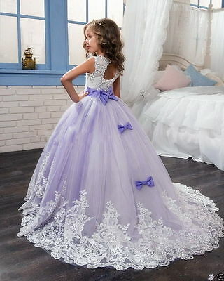 Wedding Flower Girl Dress  Communion Party Prom Princess Pageant Bridesmaid