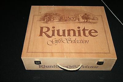 Riunite Wine Hinged Special Gift Selection Wooden Rope Handled Box Italian Made