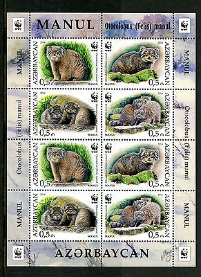 Azerbaijan 2016 MNH Manul WWF Pallas's Cat 8v M/S Cats Wild Animals Stamps