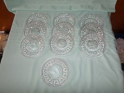 Ten Clear Glass Embossed 8'' Lunch Plates Nice