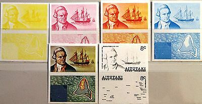 AITUTAKI 1974 110-11 101a PROOFS PROBEN Cook Ship Resolution Schiff Map MNH