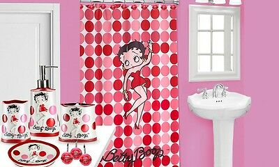Hello BETTY BOOP FABRIC SHOWER CURTAIN + 12 shower hooks pink , red popular bath