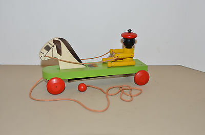 Antique HUSTLER TOY CORPORATION horse and driver pull toy - Excellent Condition!