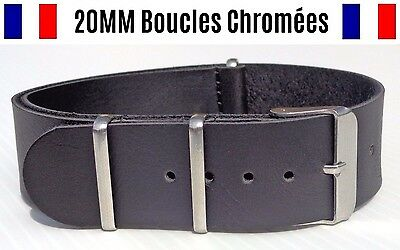 NATO ★ 20MM ★ N°77 simili cuir ★ Bracelet montre Watch Band Strap Nylon BOND 007
