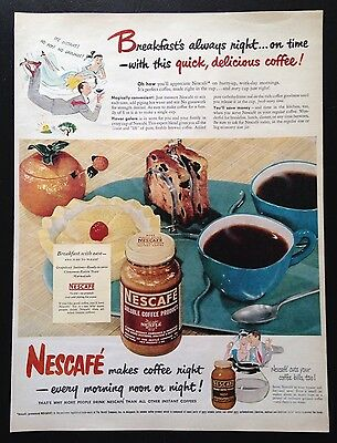 1949 Nescafe instant coffee morning breakfast table vintage print ad