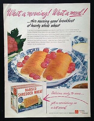 1945 Nabisco Shredded Wheat morning breakfast cereal original vintage print ad