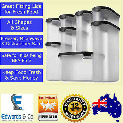8 Piece Pantry Set Food Container Storage 2.7 Litre BPA Free Clear Black