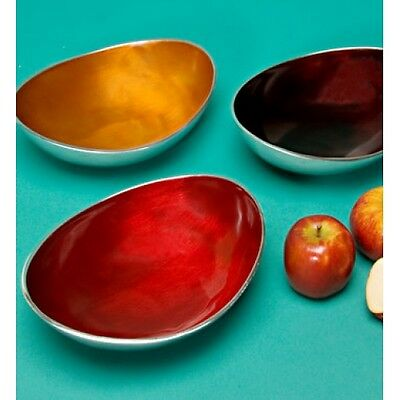 Oval Large Bowl Recycled Aluminium in Chocolate, Orange and Red Colours