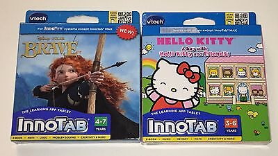 NEW VTECH INNOTAB Lot Of 2 Disney Brave & Hello Kitty Learning App Tablet Game
