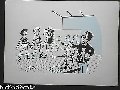 "CLIFFORD C LEWIS ""CLEW"" Original Pen & Ink Cartoon - Saucy Lady Cut Out Art #26"