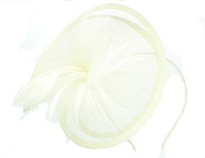 Cream Fascinator on Headband/ Clip-in for Weddings, Races and Occasions-5853