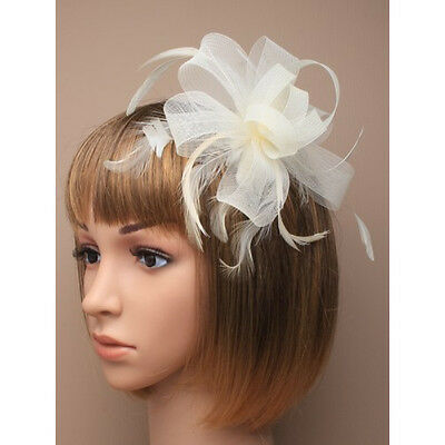 Cream Fascinator on Headband/ Clip-in for Weddings, Races and Occasions-7785
