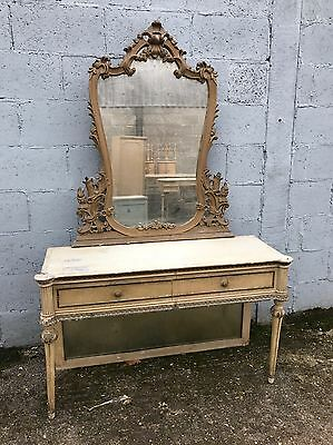 Antique, French, Vintage Console, Dressing Table Original Paint With Gilt Mirror