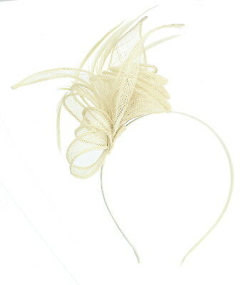 Cream Fascinator on Headband/ Clip-in for Weddings, Races and Occasions-5919