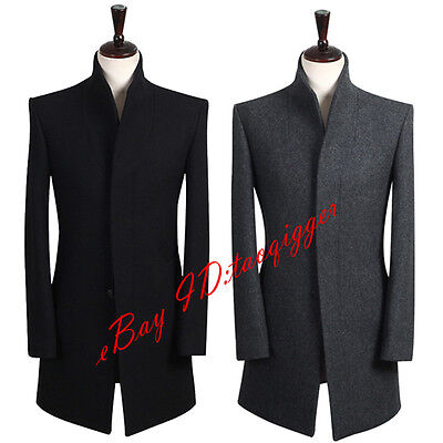 S 9xl Men Stand Collar Wool Blend Trench Long Coat Slim Fit Peacoat