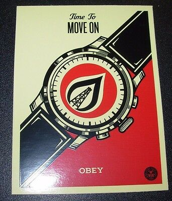 "SHEPARD FAIREY Obey Giant Sticker 3.5X 4.75"" TIME TO MOVE ON from poster print"